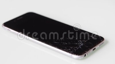 Cracked lcd screen on new Apple Iphone stock video