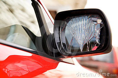 Cracked rear-view mirror