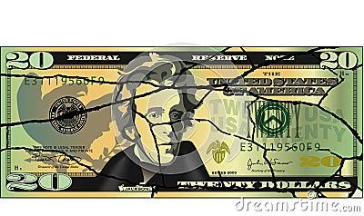 Cracked twenty dollar bill
