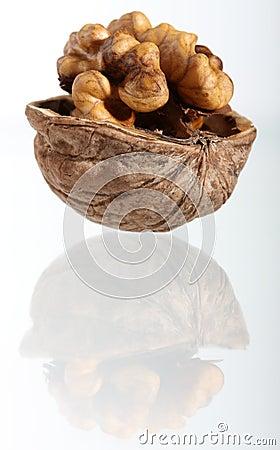 Cracked walnut with reflection
