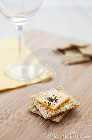 Crackers with cheese vertical