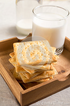 Crackers and milk in wooden tray