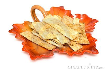Crackers and sugar on plate