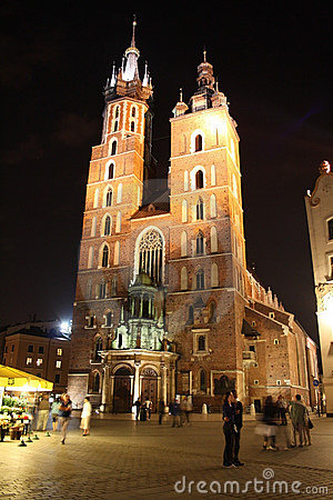 Cracow (Krakow, Poland) at night Editorial Stock Image