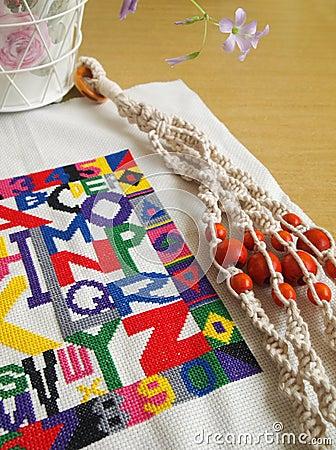 Craft items still life, macrame, cross stitching