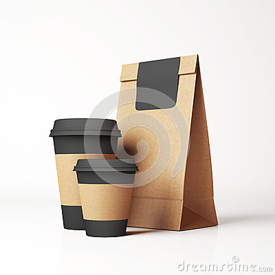 Free Craft Paper Bag And Cups Royalty Free Stock Photo - 47436175