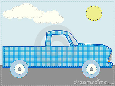 Craft patchwork blue cartoon truck road sun day