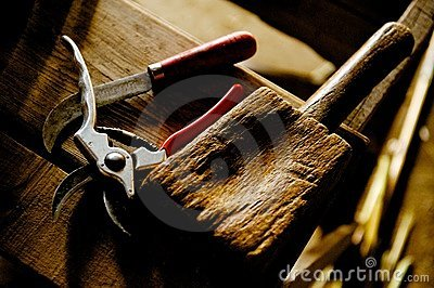 Craft tools on wooden workbench