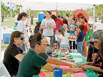 Crafts table at Earth Fest Editorial Photo