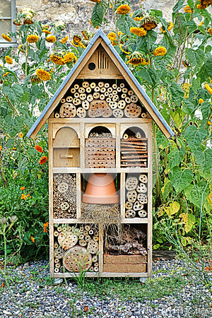 Free Craftsman Built Insect Hotel Decorative Wood House Royalty Free Stock Photos - 35016338