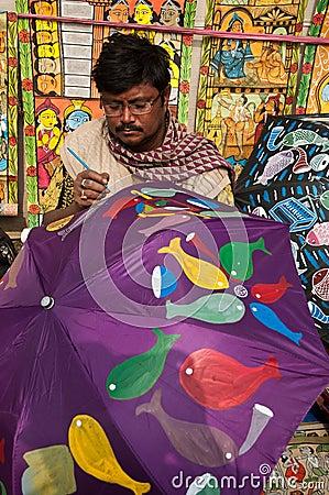 Craftsman creating umbrellas Editorial Photography