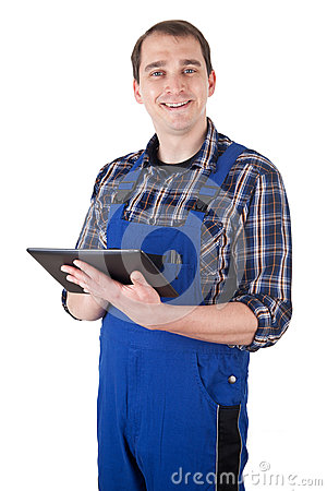 Craftsman with digital tablet