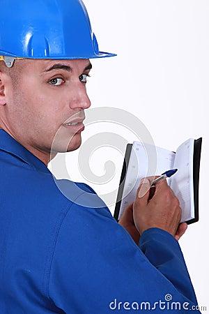 Craftsman holding an agenda