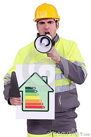 Craftsman holding a megaphone