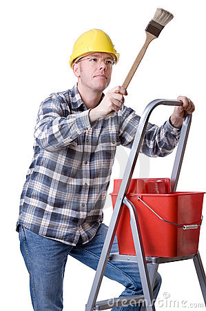 Craftsman on a ladder with a brush