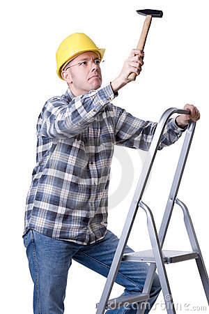 Craftsman on a ladder with a hammer