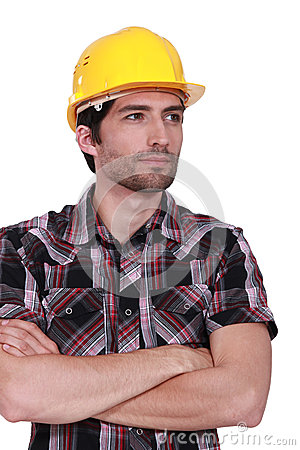 Craftsman with safety helmet