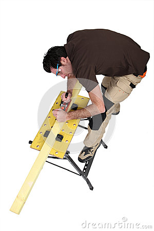 Craftsman sanding wood