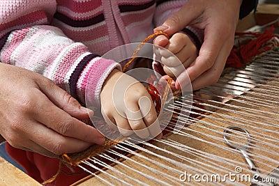 Craftsman teaches the child