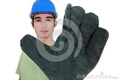 Craftsman wearing gloves