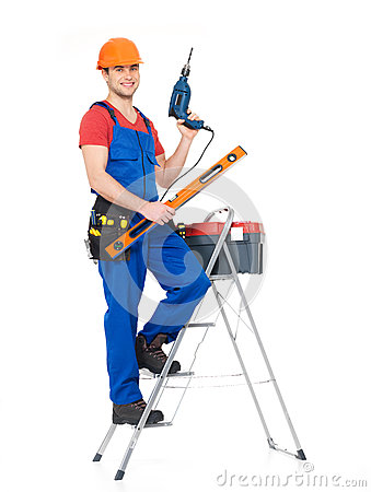 Free Craftsman With Tools And Stairs Stock Image - 29858581