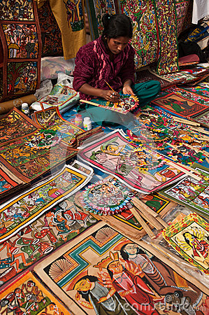 Craftswoman creating handicrafts Editorial Image
