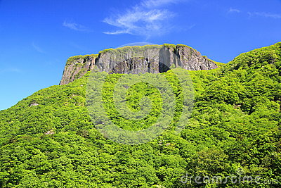 Crag mountain with fresh verdure