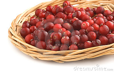 Cranberries in a wicker tray