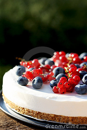 Cranberry and blueberry 4th July yogurt cheesecake