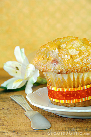 Cranberry Muffin and White Flower