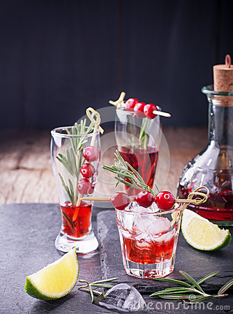 Cranberry, Rosemary, Gin Fizz, Cocktail On A White Stock Photo - Image ...