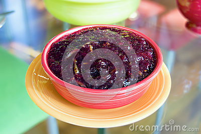 Cranberry Sauce in Red Bowl