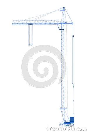 Crane (3D xray blue on white)