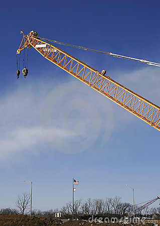 Crane arm and americal flag
