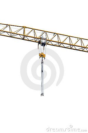 Crane arm with metal cables and crane hooks