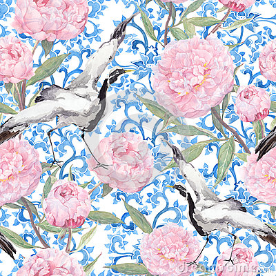 Free Crane Birds, Peony Flowers. Floral Repeating Asian Pattern. Watercolor Royalty Free Stock Image - 75907036