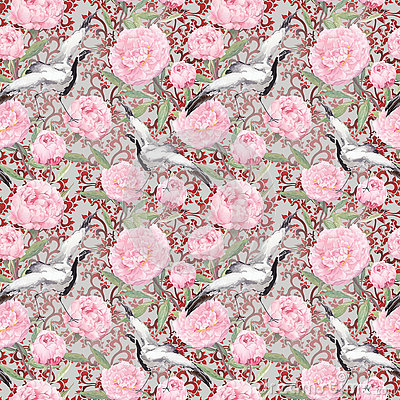 Free Crane Birds, Peony Flowers. Floral Repeating Pattern, Asia. Watercolor Royalty Free Stock Photography - 75907637