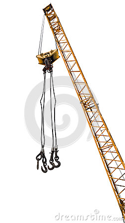 Free Crane Boom With Lifting Hooks Isolated On White Royalty Free Stock Photography - 47907947