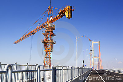 Crane in bridge area