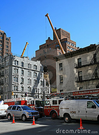 Crane collapse flatten a 4 story building Editorial Photography