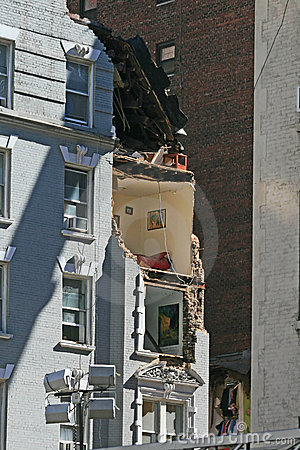 Crane collapse flatten a 4 story building Editorial Photo