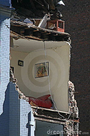 Crane collapse flatten a 4 story building Editorial Stock Photo