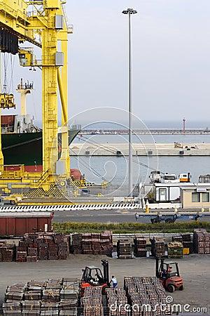 Crane on dockside loading