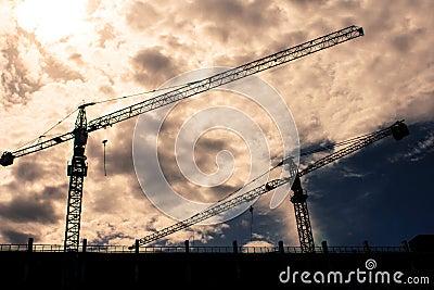Crane in dramatic sky
