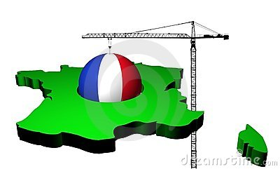 Crane with flag sphere and France map