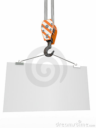 Crane hook with empty board. 3d