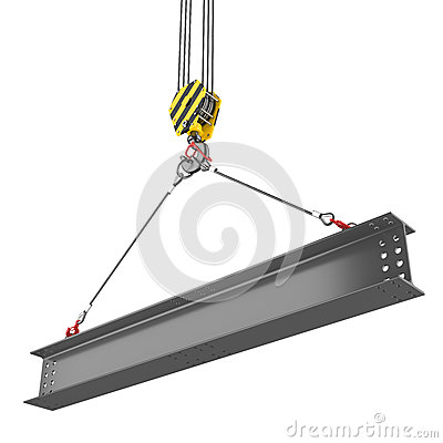 Free Crane Hook Lifting Of Steel Beam Royalty Free Stock Photos - 37197148