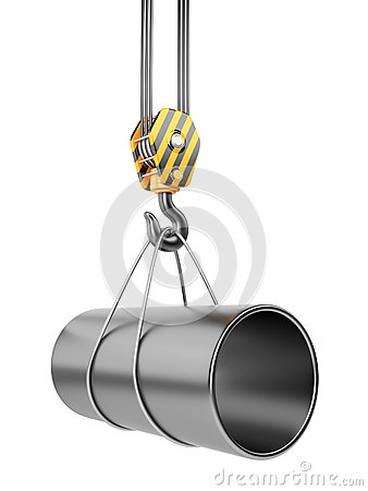 Crane hook  with steel pipe 3D. Isolated
