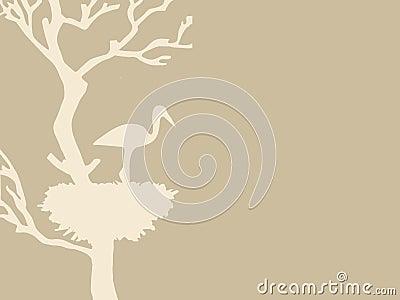Crane in nest