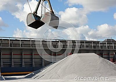 Crane loading gravel
